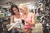 Female customers in sports store