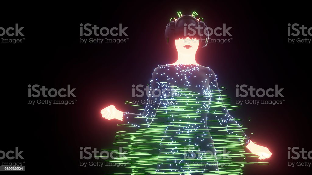 Female cyborg with VR headset stock photo