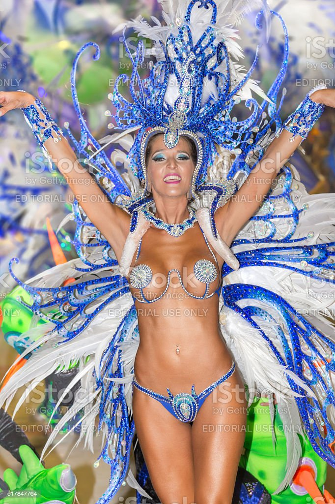 Female dancer at carnival in Argentina Gualeguaychu stock photo