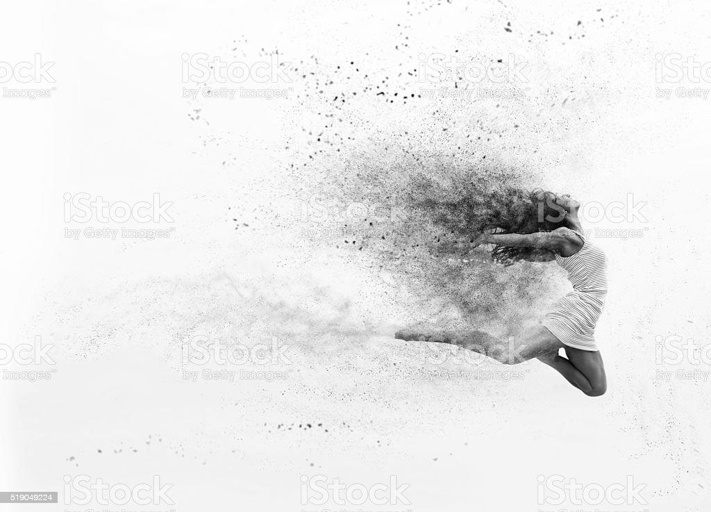 Female dancer jumping stock photo