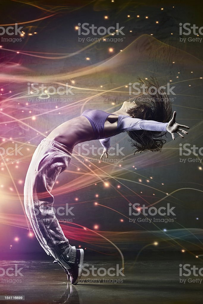 Female dancer with abstract background stock photo