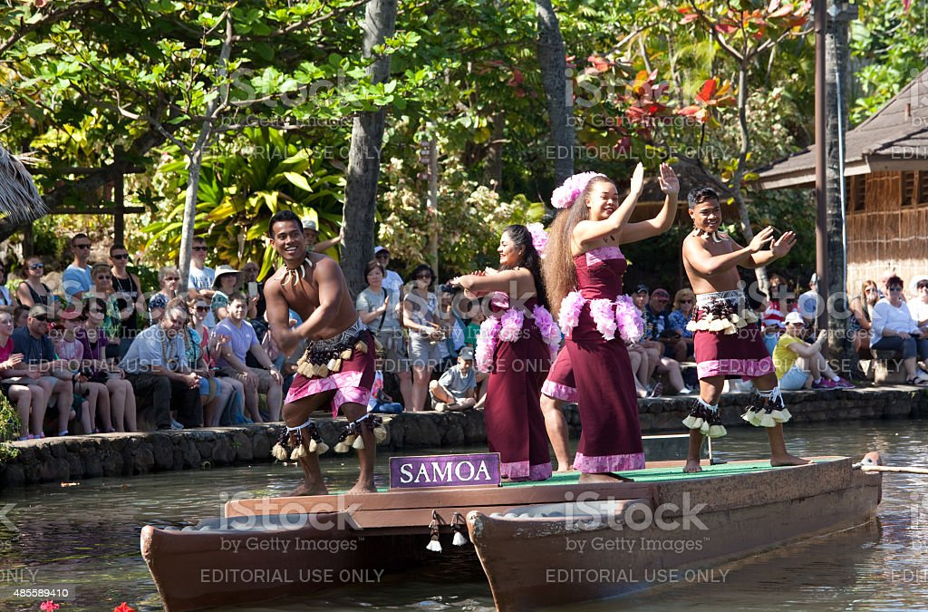 Female Dancers at Polynesian Cultural Center in Hawaii stock photo