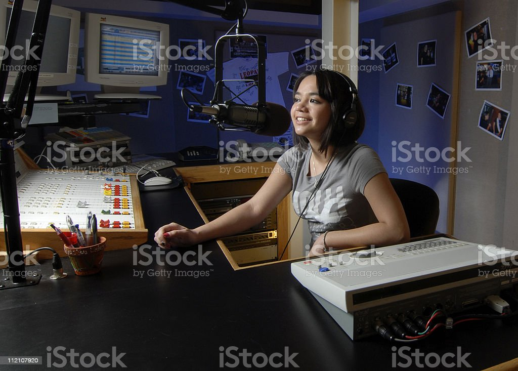 Female Disk Jockey stock photo