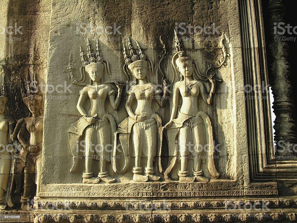 Female divinities in Angkor Wat royalty-free stock photo