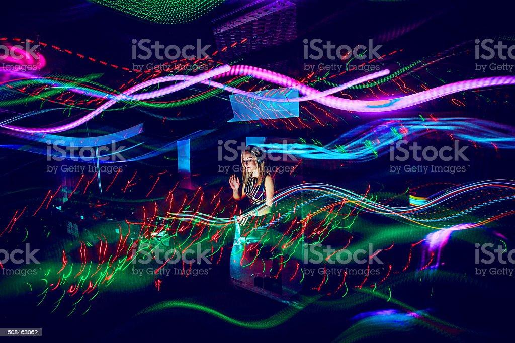 Female DJ, Light Painting stock photo