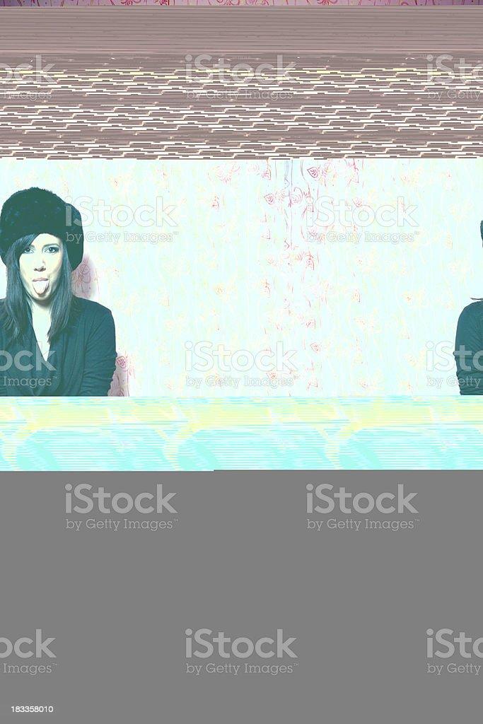 Female DJ listening to the music stock photo
