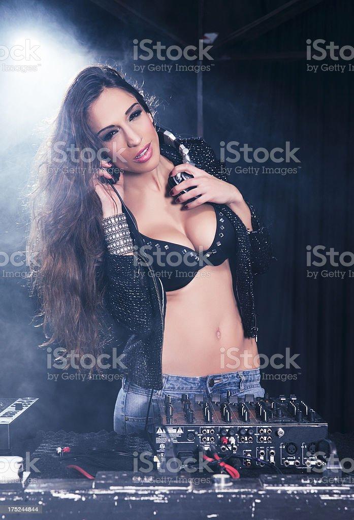 Female DJ Looking royalty-free stock photo