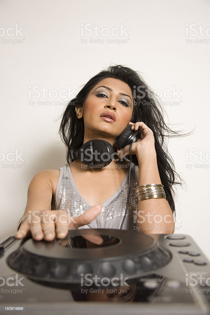 Female Dj royalty-free stock photo