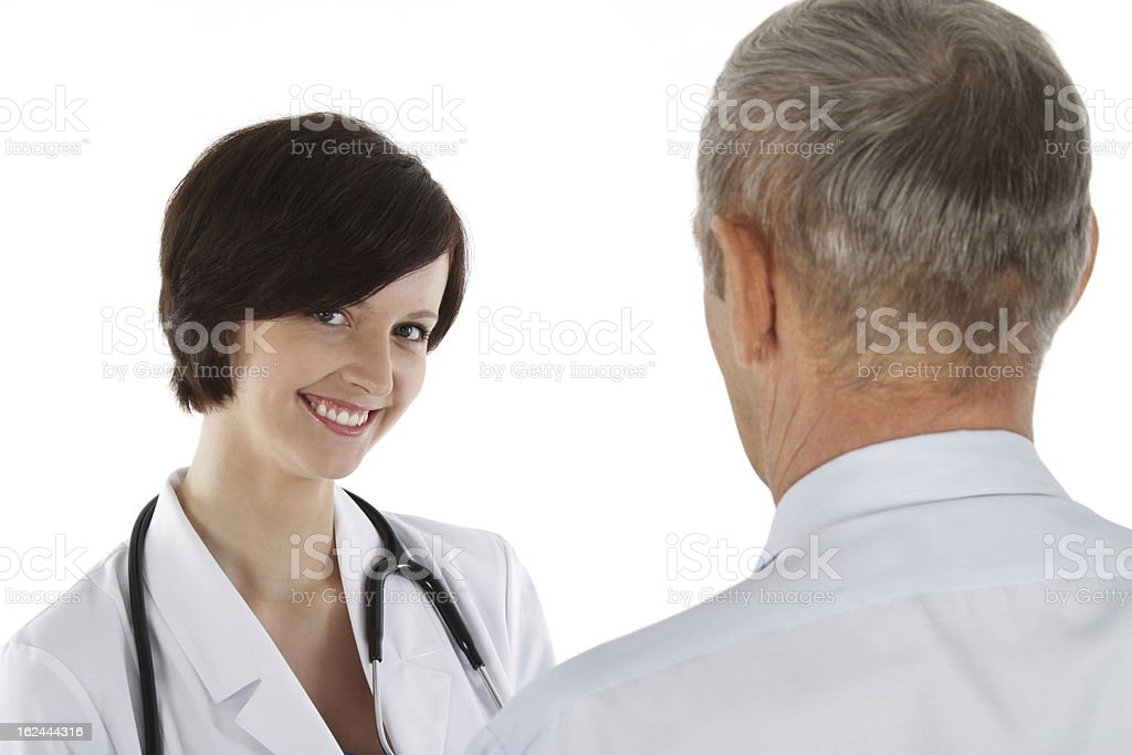 Female doctor and older man royalty-free stock photo