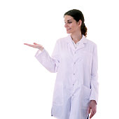 Female doctor assistant scientist in white coat over  isolated background