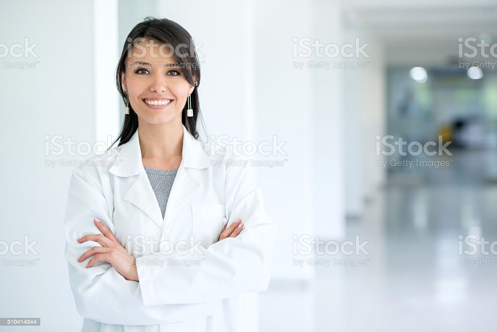 Female doctor at the hospital stock photo