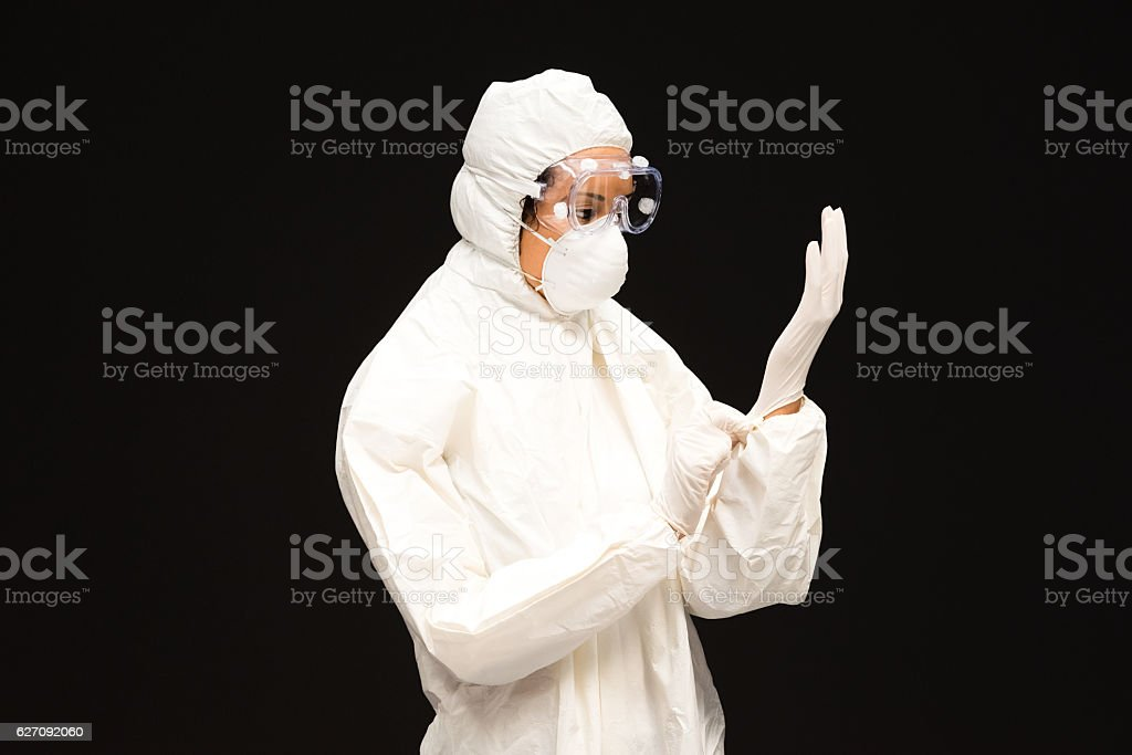 Female doctor dressing stock photo