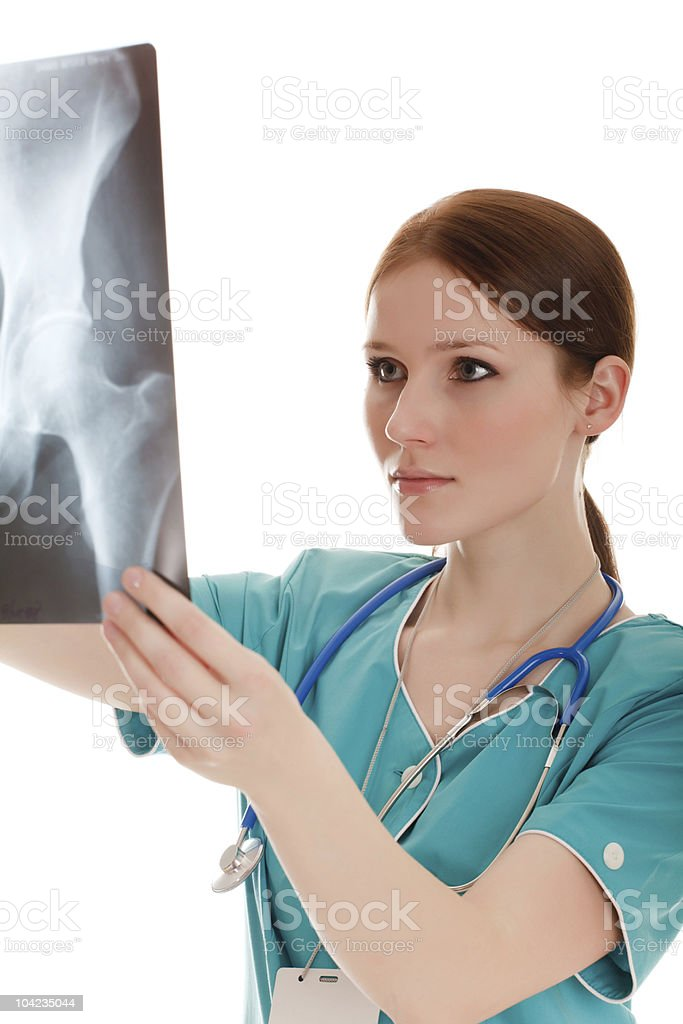 Female doctor in the green uniform royalty-free stock photo