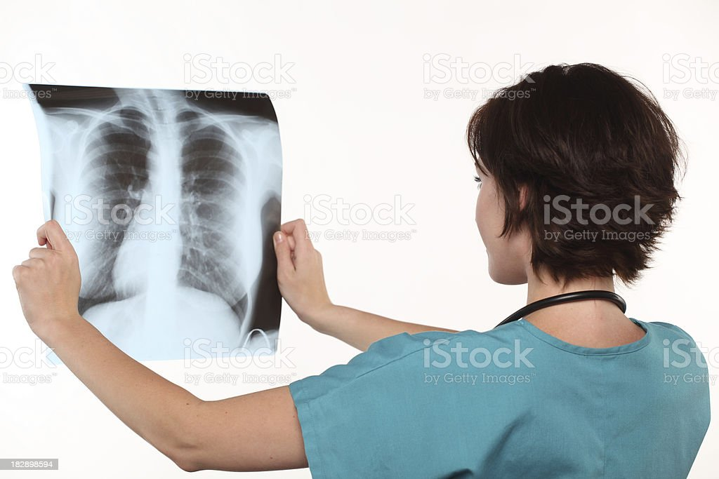 Female doctor - lungs X-Ray stock photo