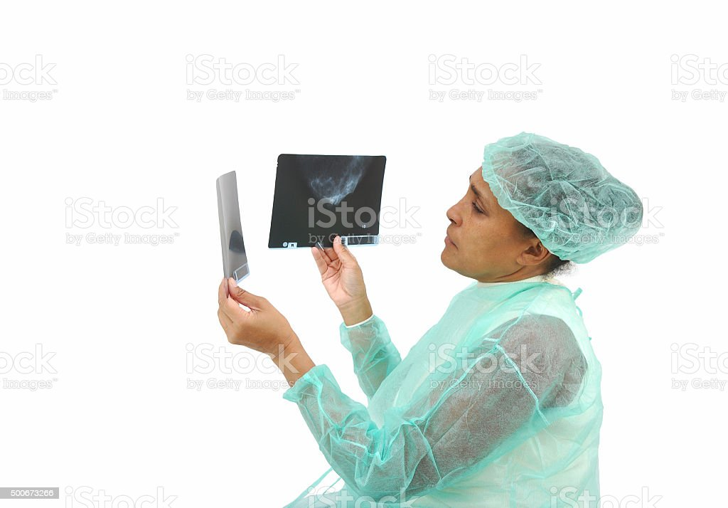 Female Doctor Mammogram X-ray stock photo
