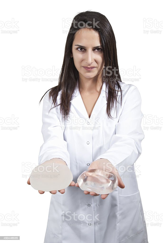 Female Doctor Offer Breast Implant stock photo