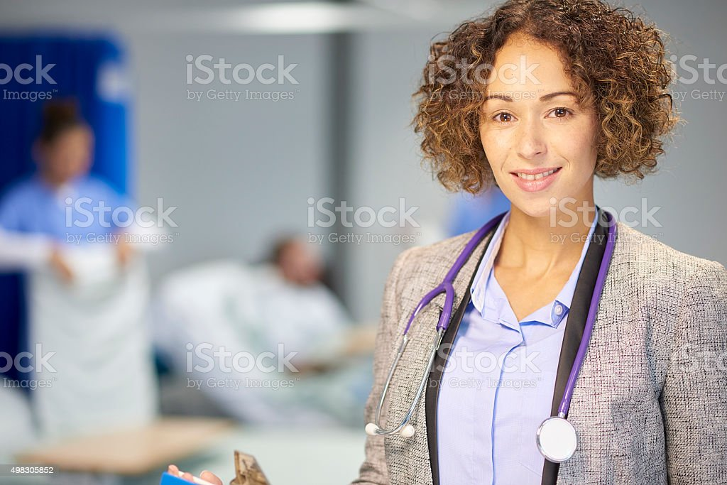 female doctor portrait in hospital stock photo