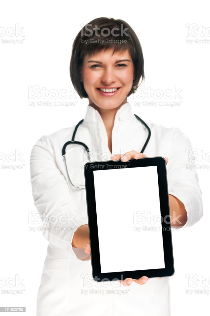 Female doctor showing tablet PC royalty-free stock photo