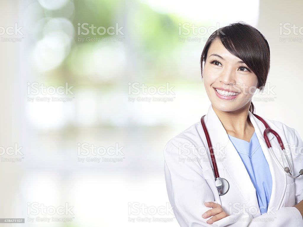 female doctor smile look to copy space stock photo