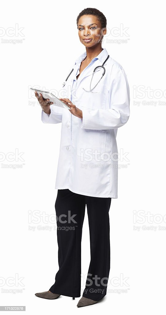 Female Doctor With a Tablet Computer - Isolated stock photo