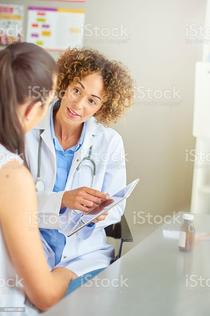 female doctor with female patient stock photo