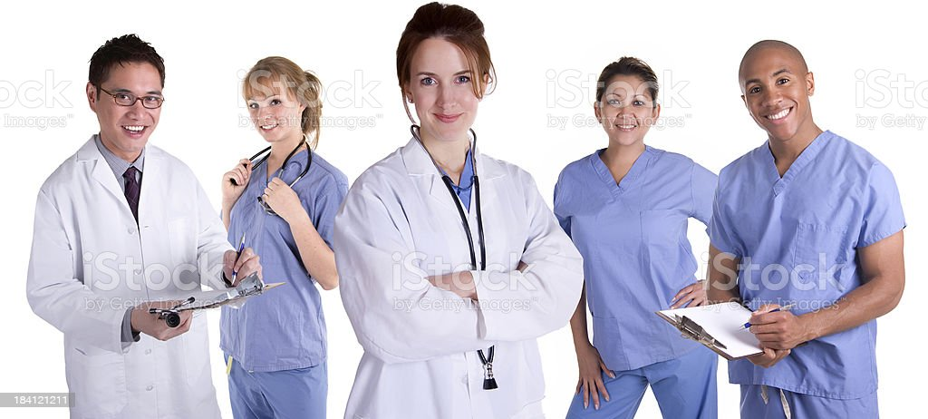 Female Doctor with Team stock photo