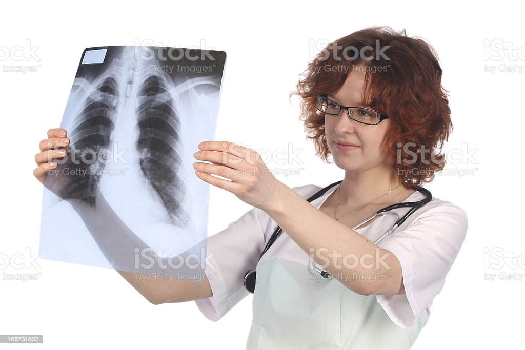Female doctor with X-ray royalty-free stock photo