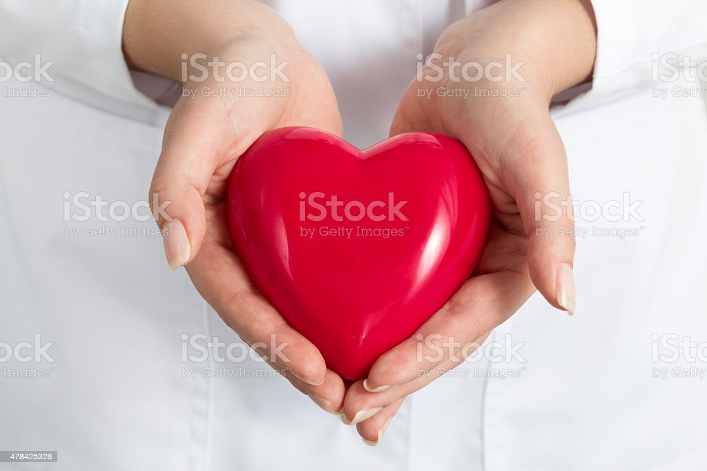 Female doctors's hands holding and covering red heart stock photo