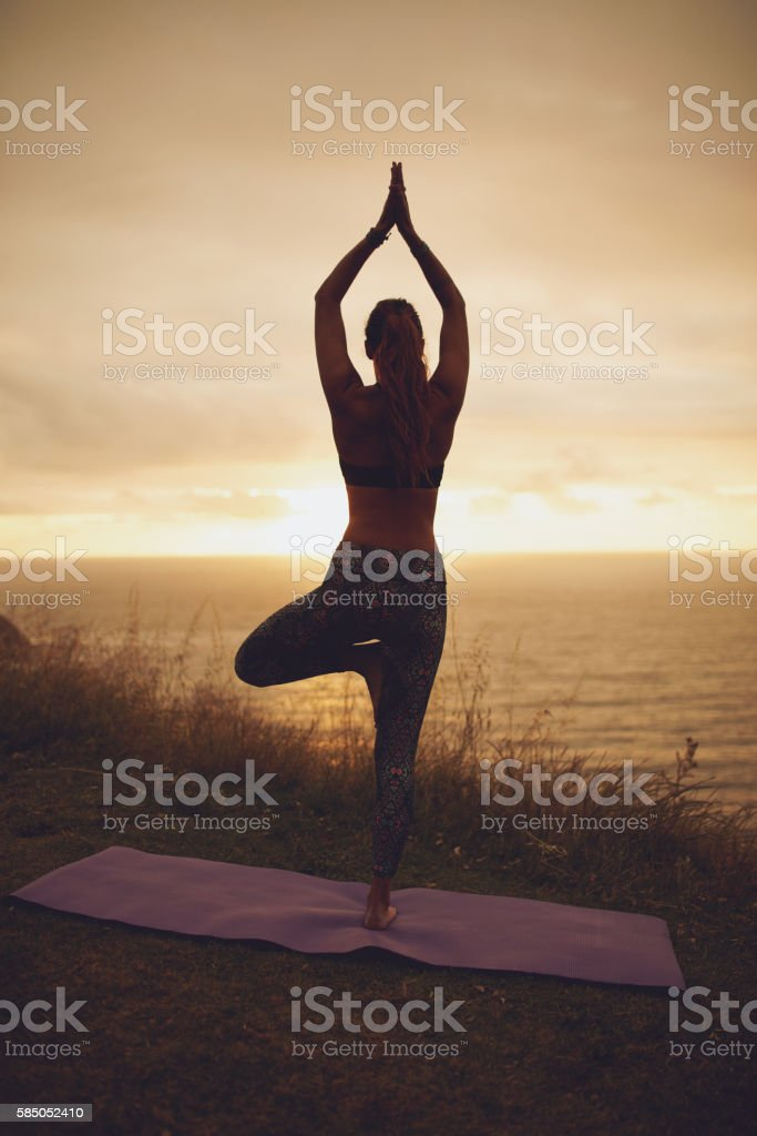 Female doing tree pose yoga on the cliff stock photo