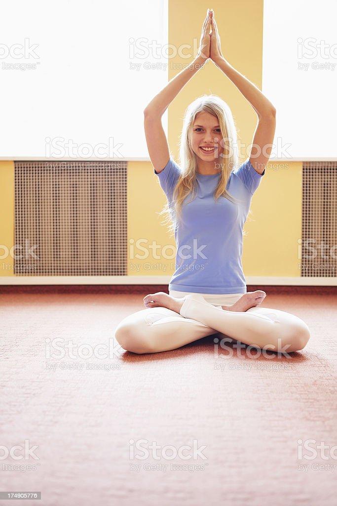 Female doing yoga exercise royalty-free stock photo