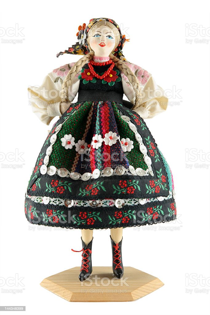 Female doll from Poland on a white background stock photo