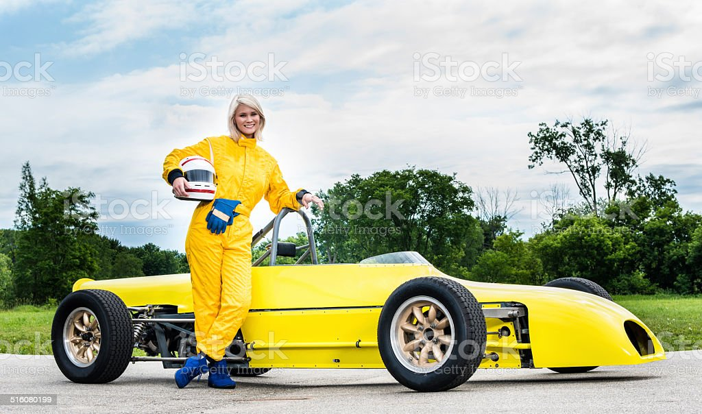 Female Driver with a 'Formula Ford' Class Racecar stock photo