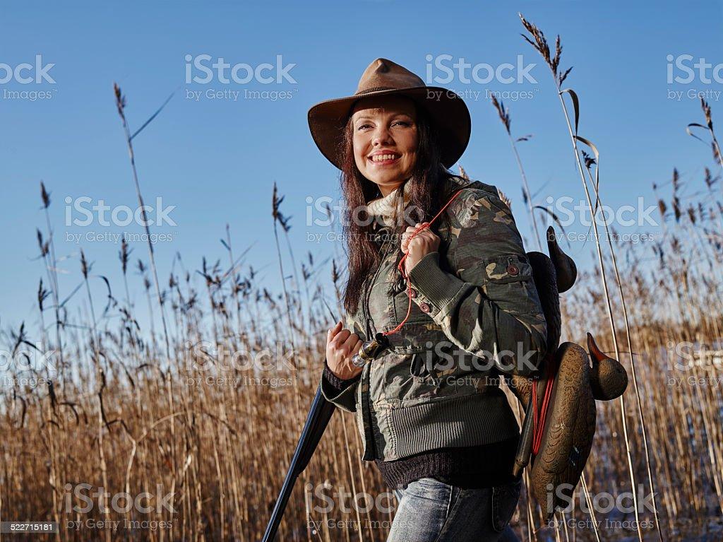 Female duck hunter stock photo