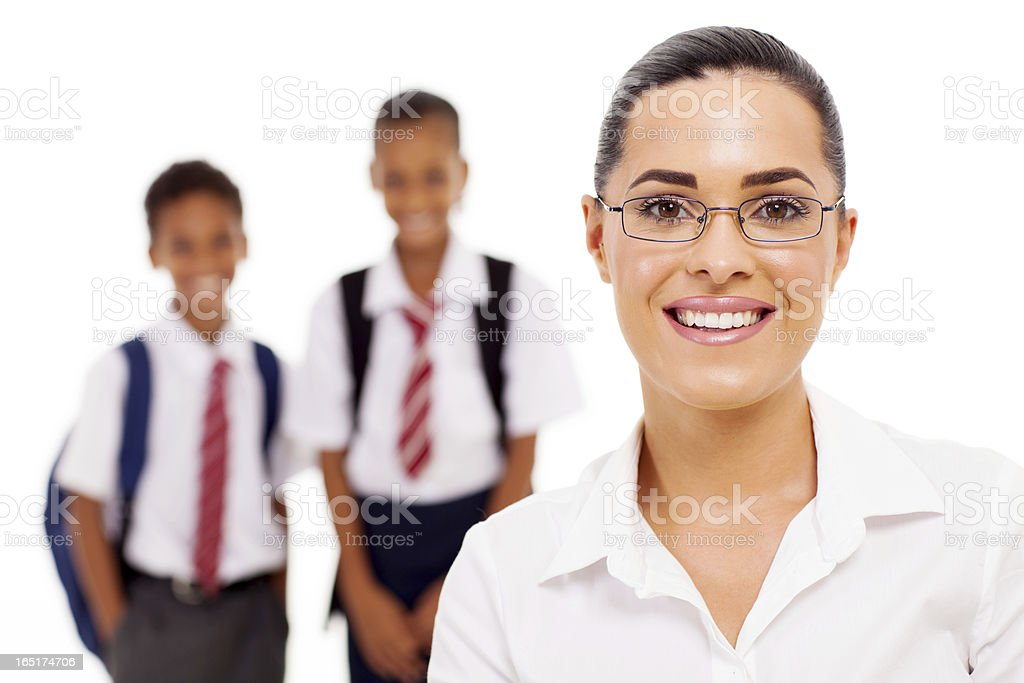 female elementary school teacher and students royalty-free stock photo