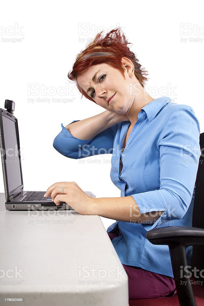 Female Employee Suffering From Bad Posture stock photo