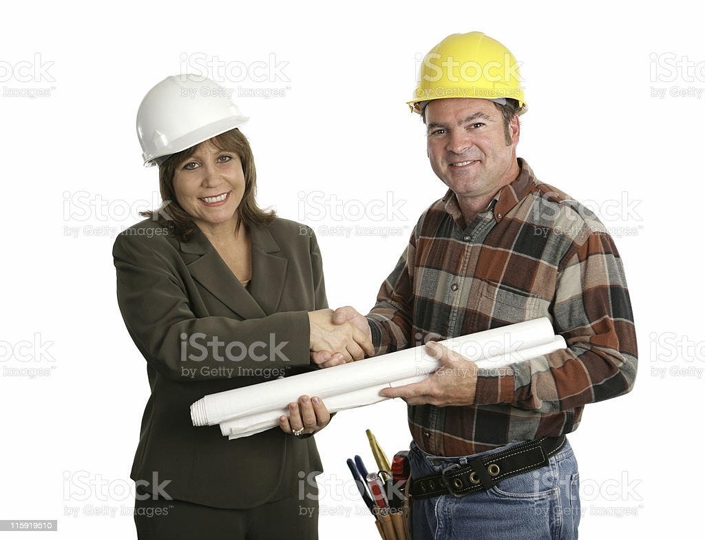 Female Engineer & Contractor Handshake royalty-free stock photo