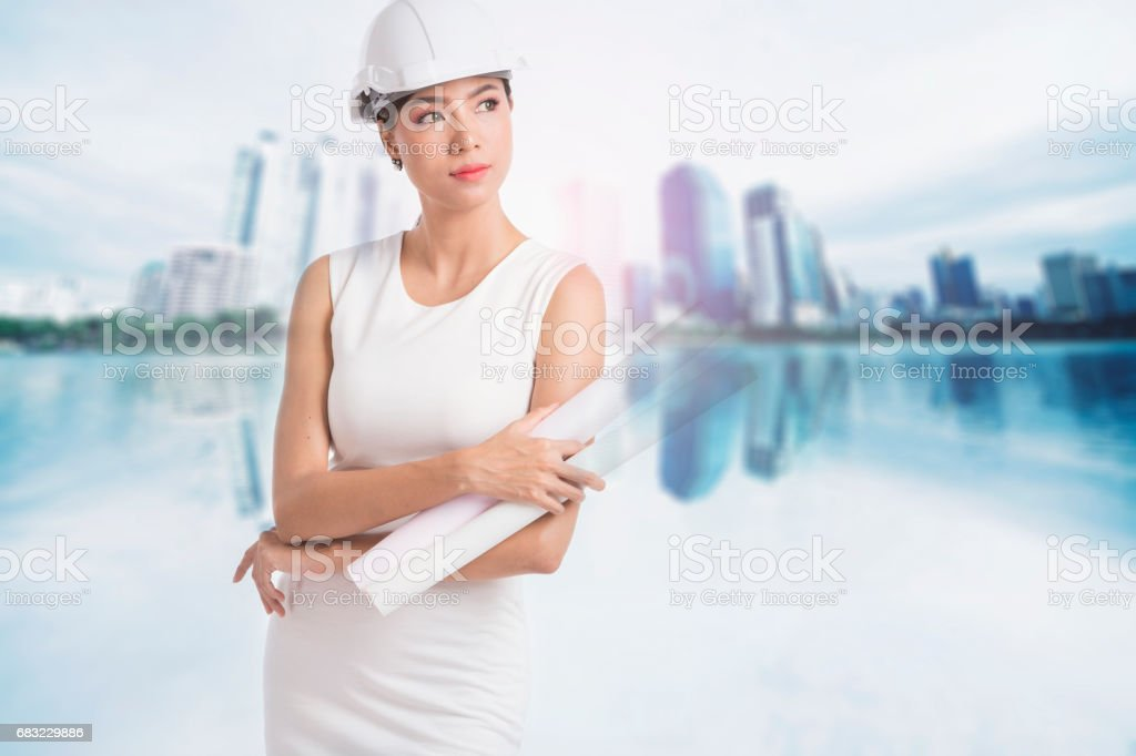 Female engineer crossing her arms stock photo