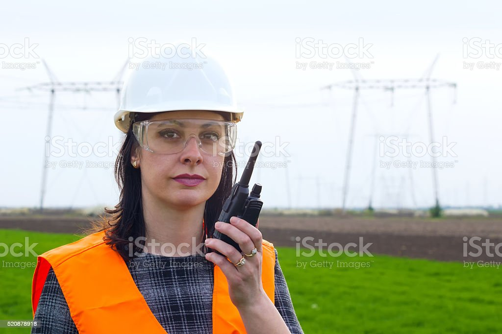Female engineer electrician stock photo