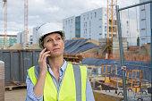 female engineer using phone