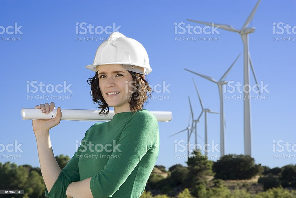 Female Engineer Windmills royalty-free stock photo