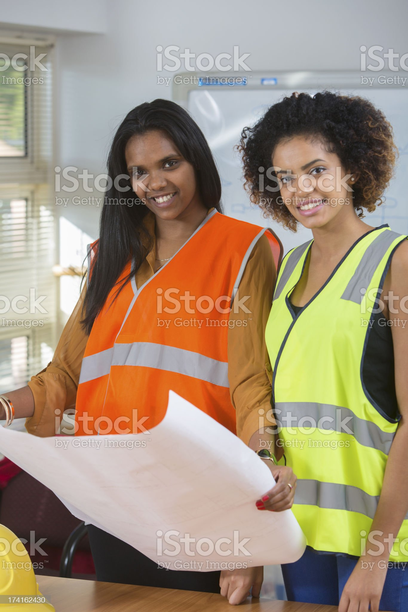 Female Engineers Construction Work royalty-free stock photo