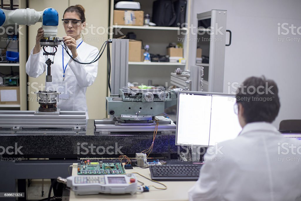Female engineers in research lab stock photo