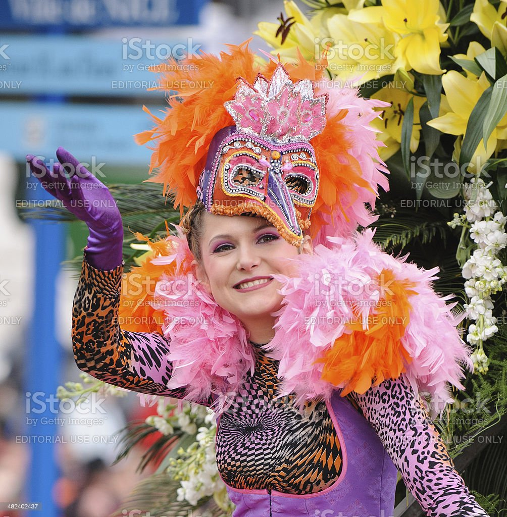 Female Entertainer at the Nice Flower Carnival stock photo