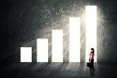 Female entrepreneur and growing graph