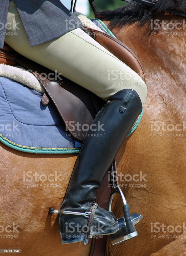 Female Equestrian with Elegant Riding Boots and Spurs stock photo