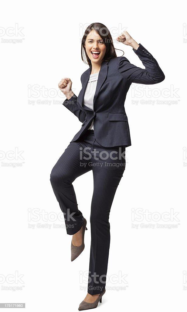 Female Executive Cheering - Isolated stock photo
