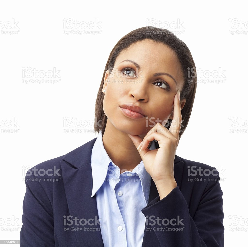 Female Executive Contemplating - Isolated royalty-free stock photo