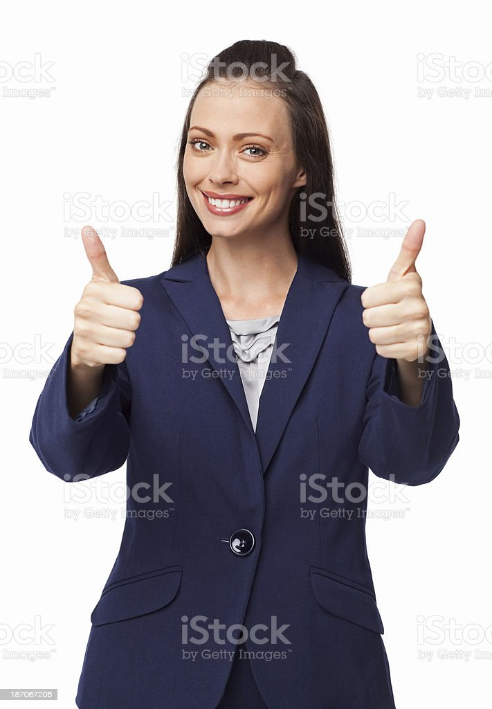 Female Executive Gesturing Double Thumbs Up - Isolated royalty-free stock photo