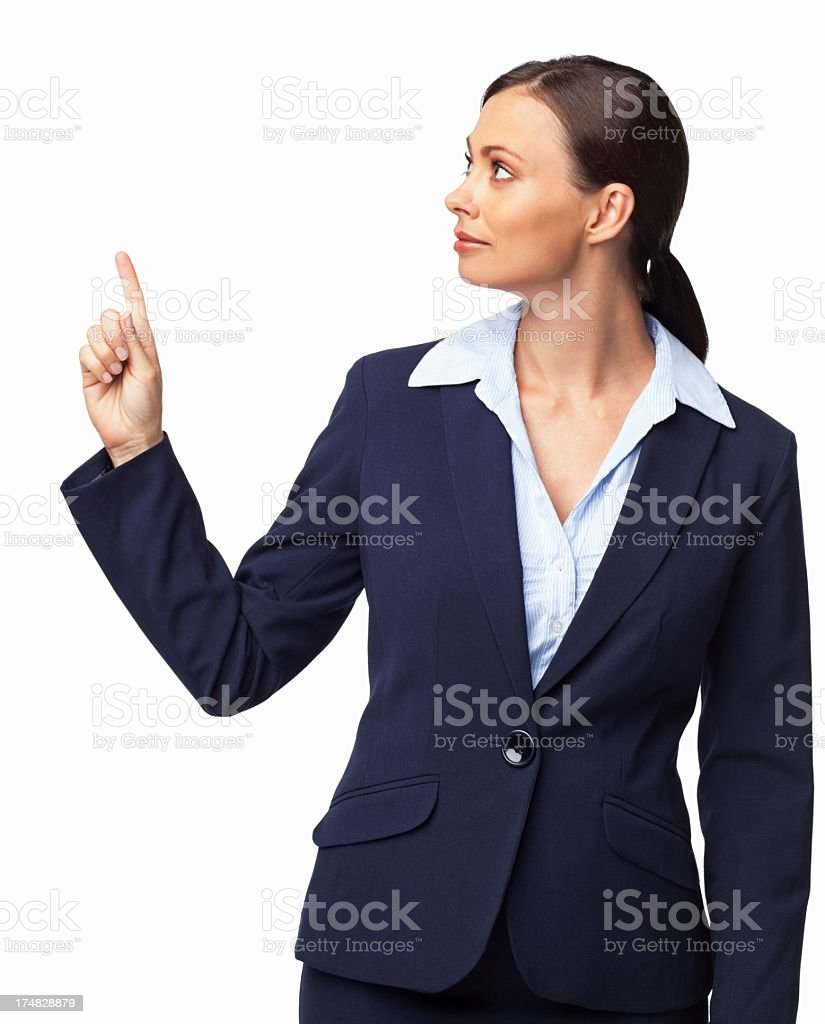 Female Executive Pointing At Copy Space - Isolated royalty-free stock photo