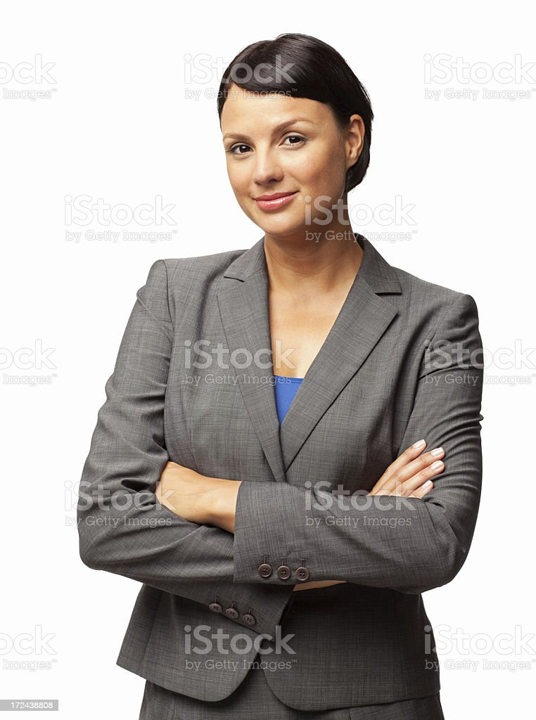Female Executive Standing With Hands Folded - Isolated royalty-free stock photo